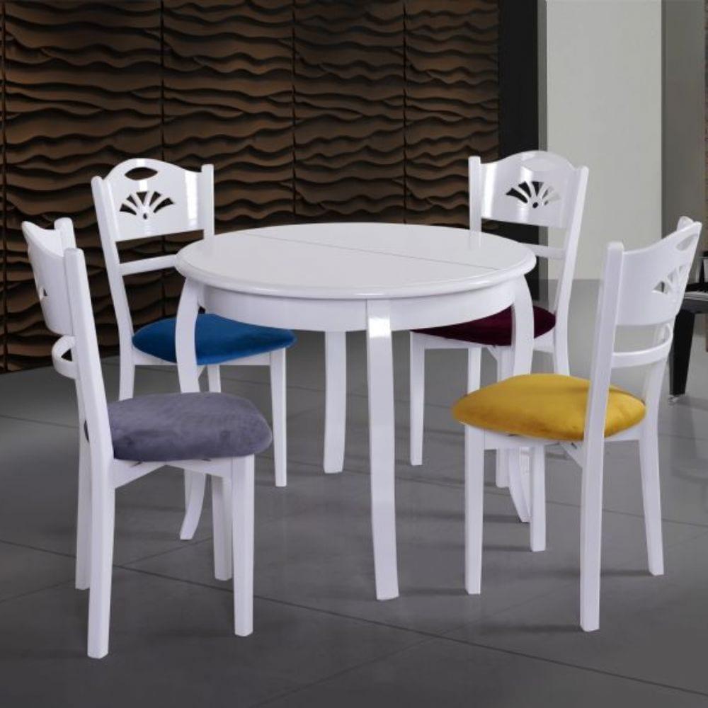Yemek Masası Modelleri - Beyaz yuvarlak yemek masası