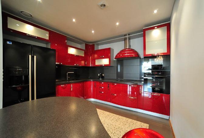 Kırmızı Siyah Mutfak Dekorasyonları