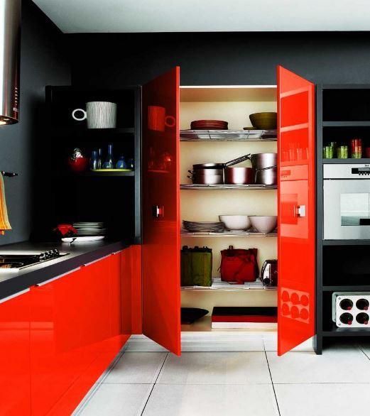 Kırmızı Siyah Mutfak Modelleri