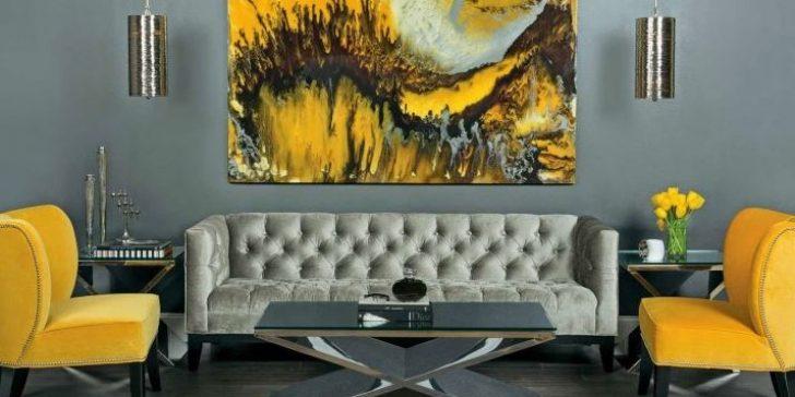 2018 Gri ve Sarı Renklerinin Kullanıldığı Salon Dekorasyonları