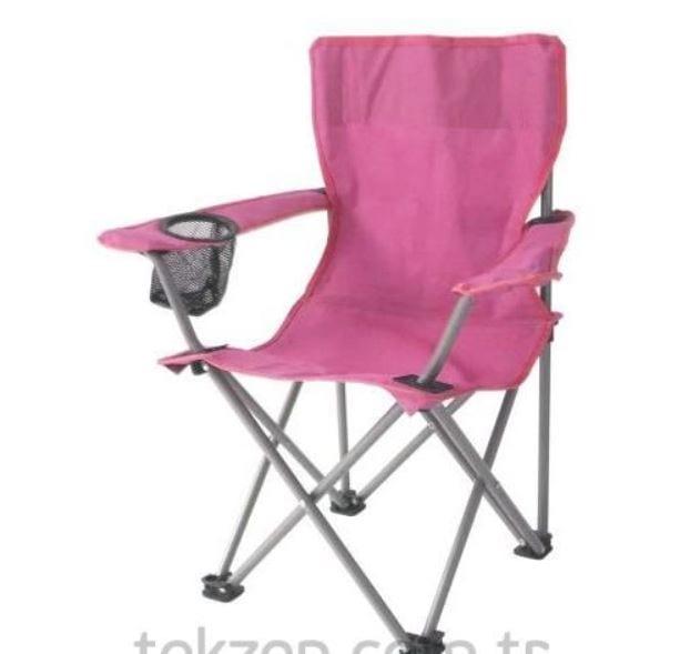 Tekzen çocuk piknik sandalyesi pembe kumaş