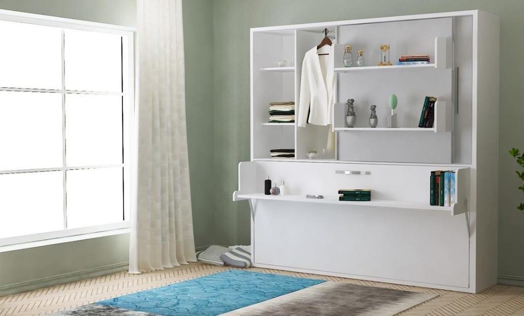 Beyaz renk duvar tipi yatak modeli