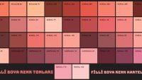 Filli Boya Kırmızı Renk Kartelası & Tonları ve İsimleri