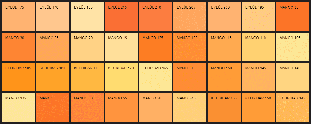 Filli Boya turuncu renk kartelası