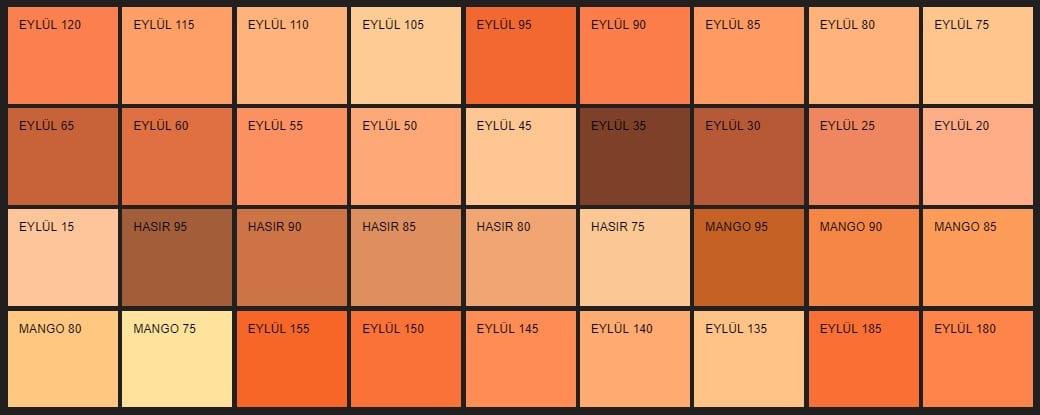 Filli Boya turuncu renk tonları ve isimleri