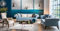Leona turkuaz rengi klasik koltuk takımı