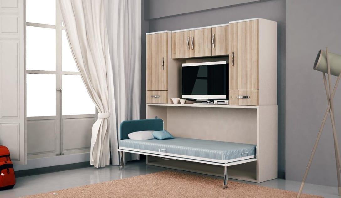Tv üniteli duvar tip yatak modeli