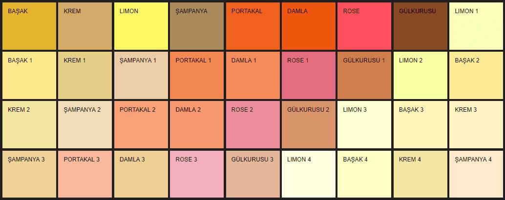 Filli Boya Alpina Renklendirme Sistemi ARS renk kartelası