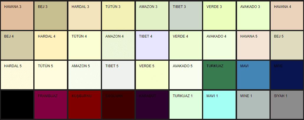 Filli Boya Alpina Renklendirme Sistemi ARS renk tonları ve isimleri