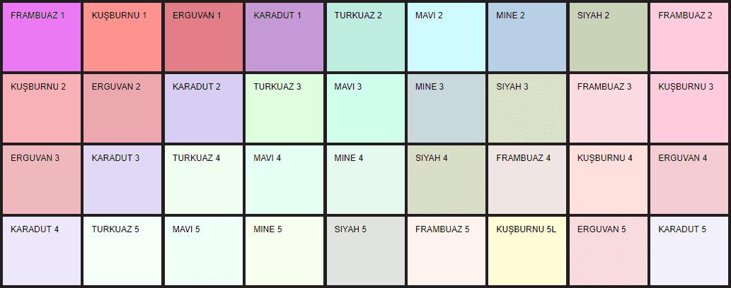 Filli Boya ARS renk kataloğu