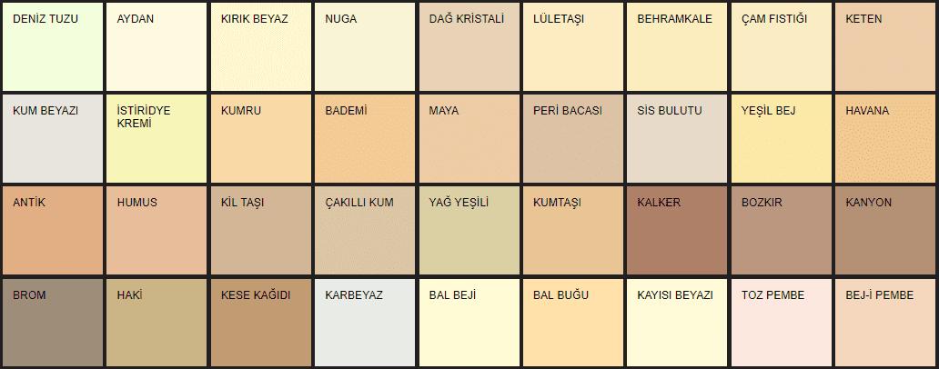 Filli Boya iç cephe renk kartelası