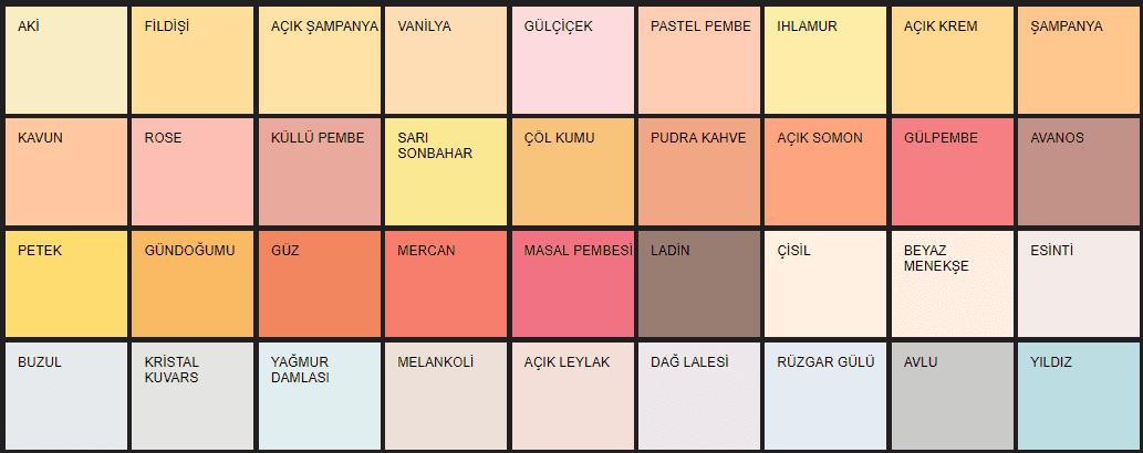 Filli Boya iç cephe renk kataloğu