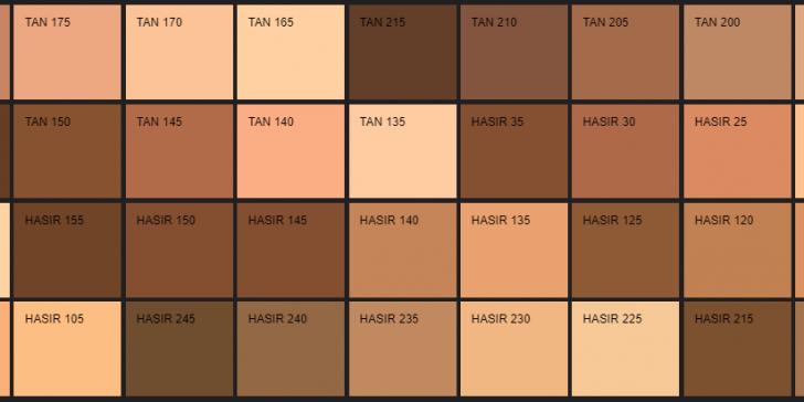 Filli Boya Kahverengi Renk Kartelası & Tonları ve İsimleri