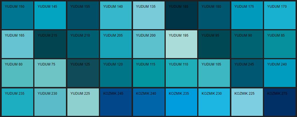 Filli Boya mavi renk kartelası