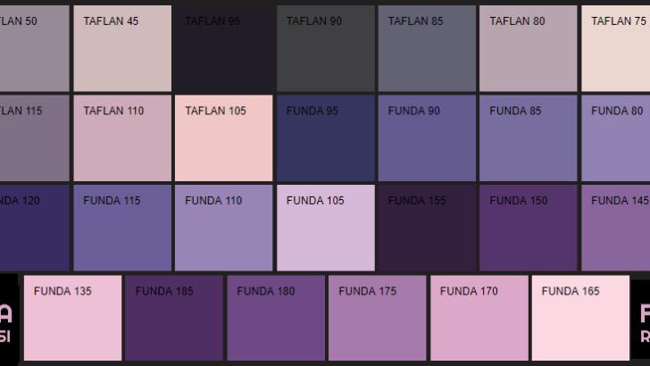 Filli Boya Mor Renk Kartelası & Tonları ve İsimleri