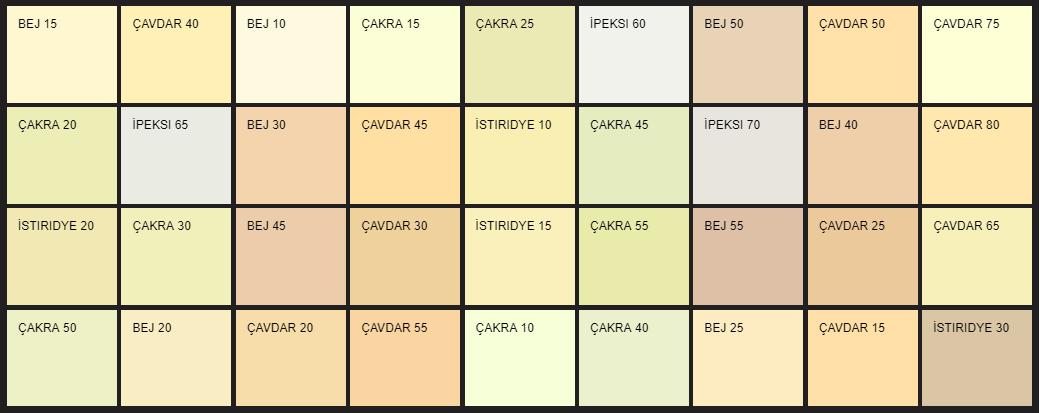 Filli Boya pastel renk kartelası