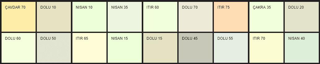 Filli Boya pastel renk tonları ve isimleri