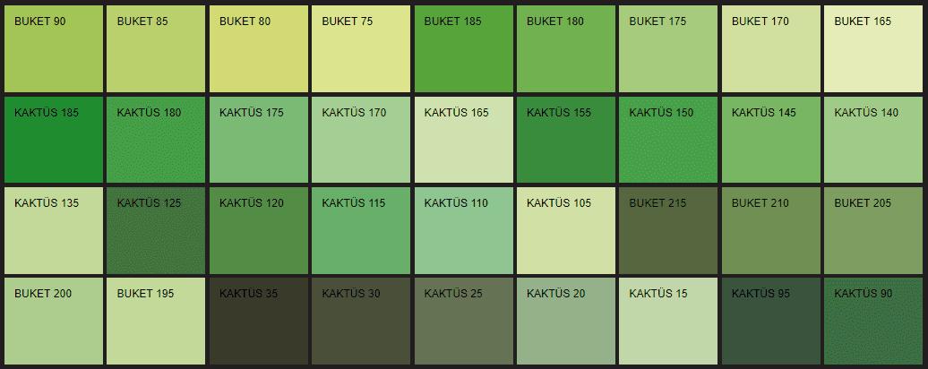 Filli Boya yeşil renk tonları ve isimleri