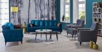 İstikbal Lucas mavi tonlarda koltuk takımı modeli