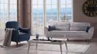 Krea modern gümüş mavi koltuk takımı