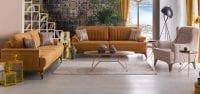 Scarlet sarı ve krem koltuk takımı modeli