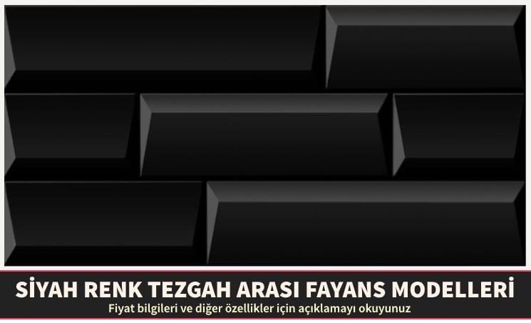 Siyah Renk Tezgah Arası Fayans Modelleri