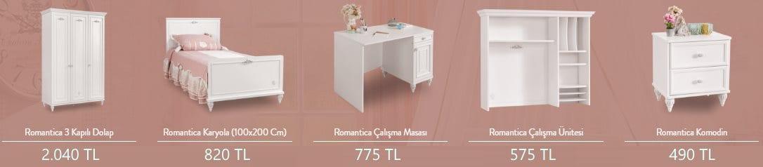 Çilek Genç Odası Romantica Serisi Fiyatları